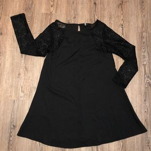 Choirs Black Flowy Dress with long Lace Sleeve